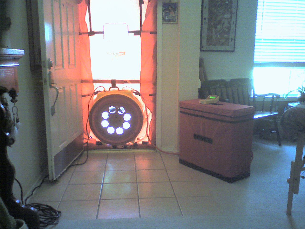 Blower door from inside residential home